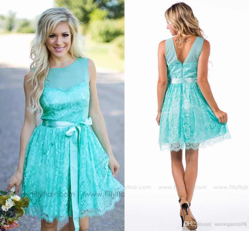 2016 Country Style Bridesmaid Dresses With Sash Short