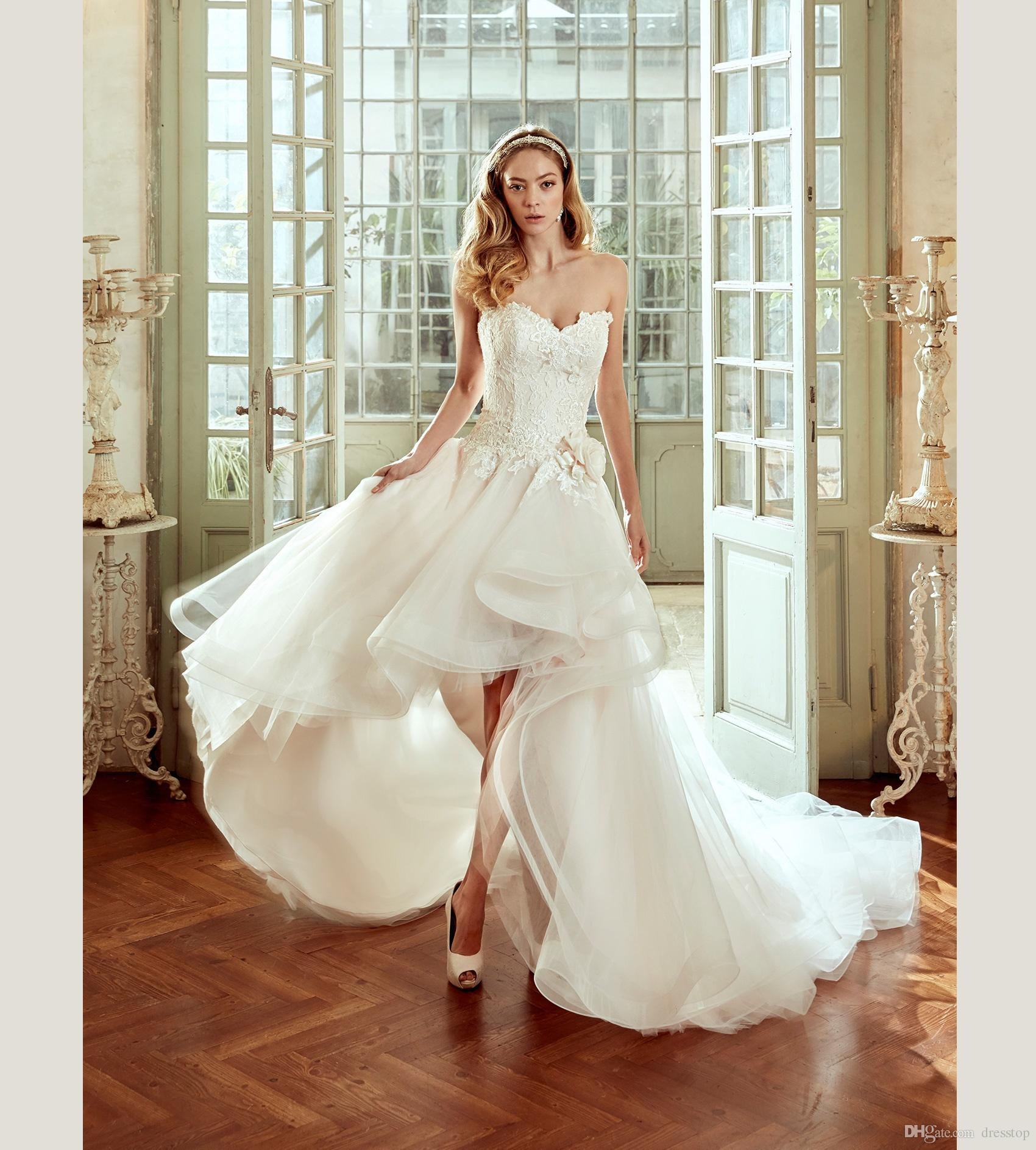 Discount 2017 Nicole High Low Wedding Dresses With Detachable Train Sweetheart Neck A Line Lace