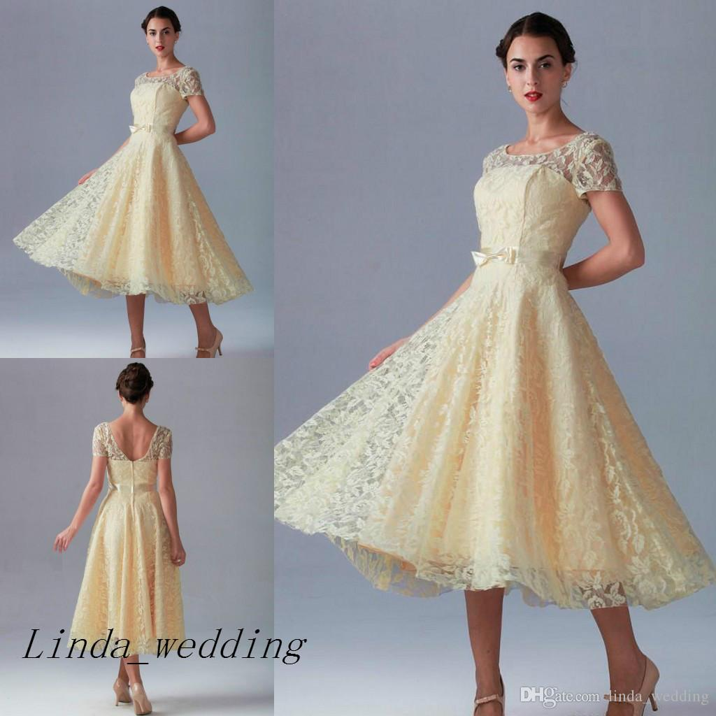 Tea Length Bridesmaid Dresses Vintage Champagne Yellow