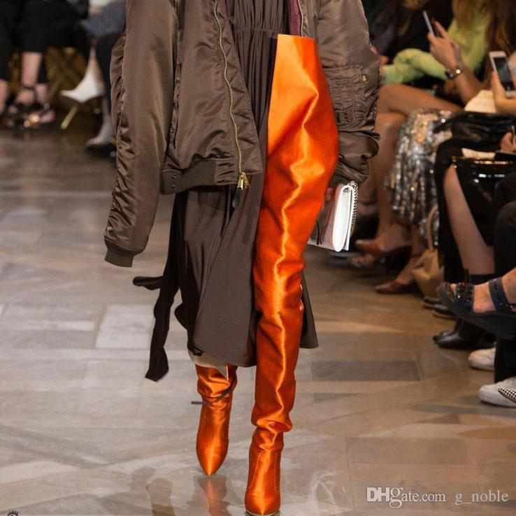 Trendy New Hollywood Boots Sexy Orange Thigh High Boots Satin ...