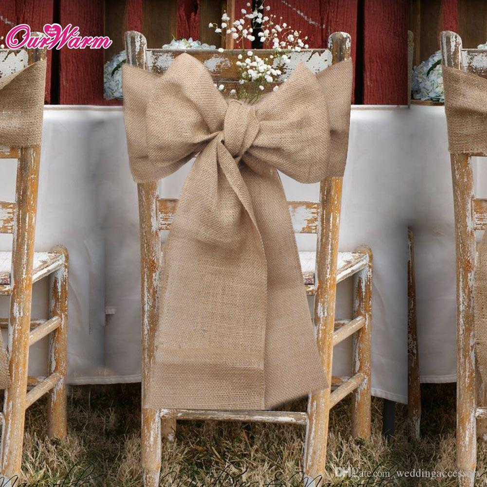 Burlap chair sashes natural hessian jute linen chair cover tie bowknot