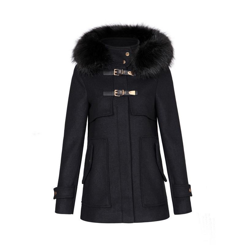 Best Women Winter Warm Long Woolen Coat Thick Black Faux Fur ...