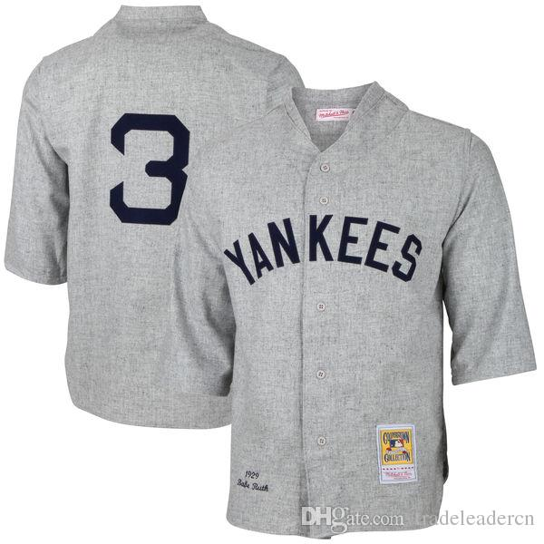 NY Yankees # 3 Babe Ruth Blanc 1929 Gris Cooperstown Collection Mens Throwback N