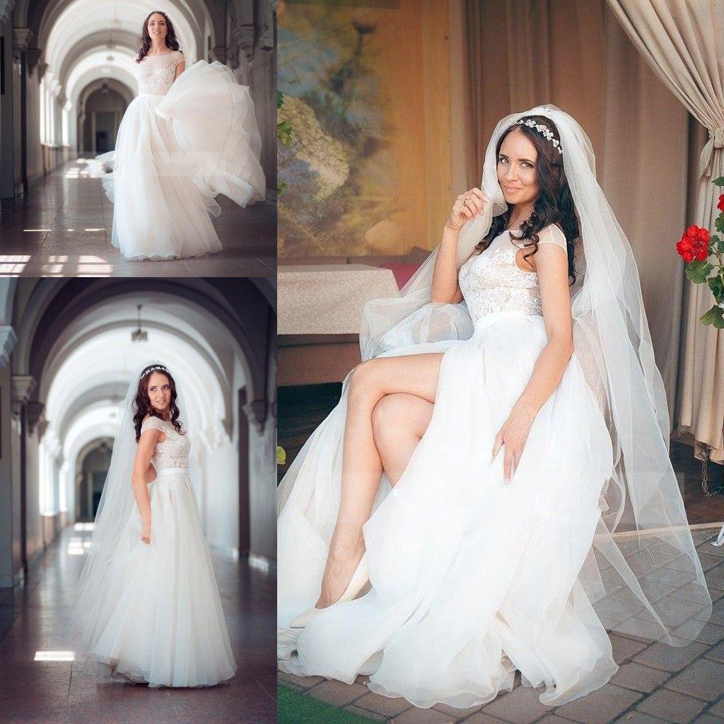 Simple Design Wedding Dresses Sheer Neck Lace Appliques Cap Sleeve Bridal Gowns Chiffon A Line High Split Beach Wedding Dresses Cheap