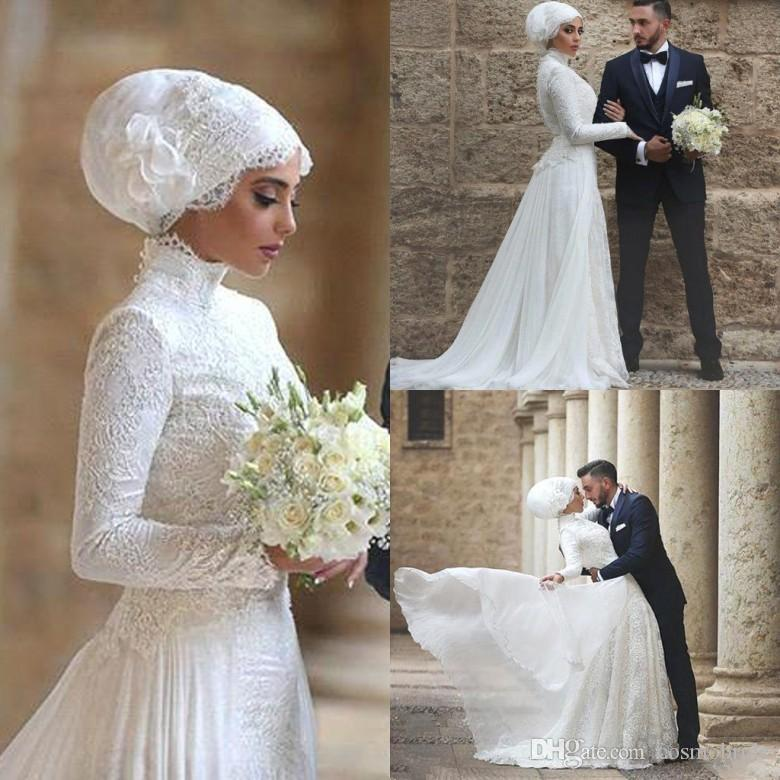 Discount 2017 Muslim Wedding Dresses Lace Long Sleeve High Neck Arabic Bridal Dress Made From
