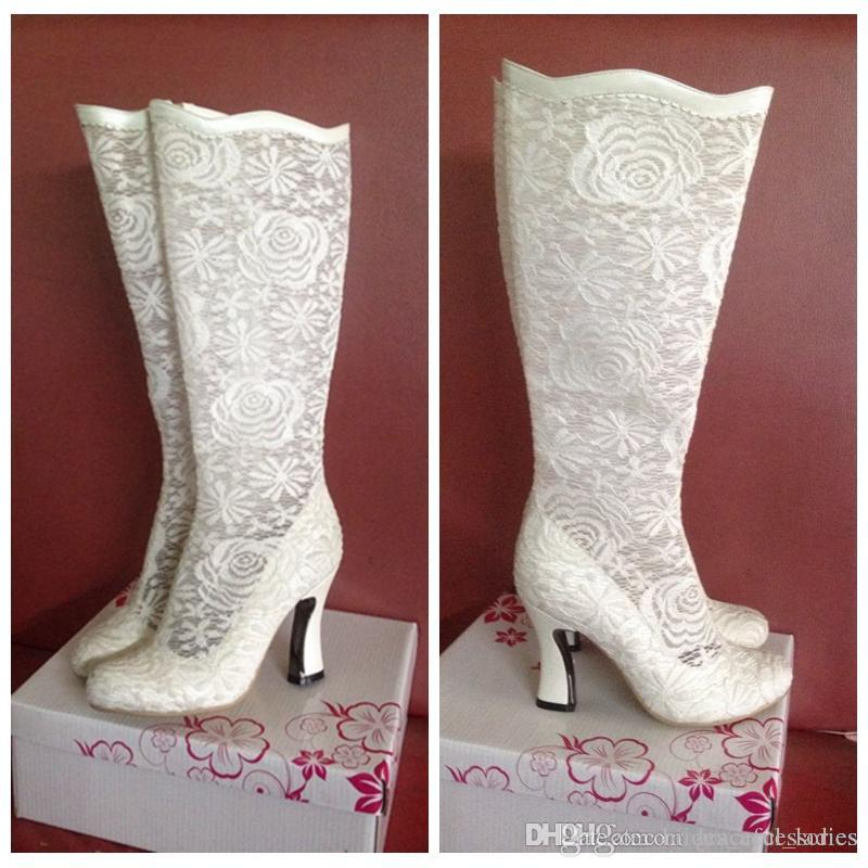 Ivory Lace Wedding Boots Custom Made Size Kitten Heel Real Image Wedding Shoes Knee High Bridal