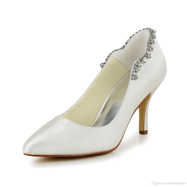 2017 New Plain Upper With Rhinestone Women Wedding Shoes Evening ...