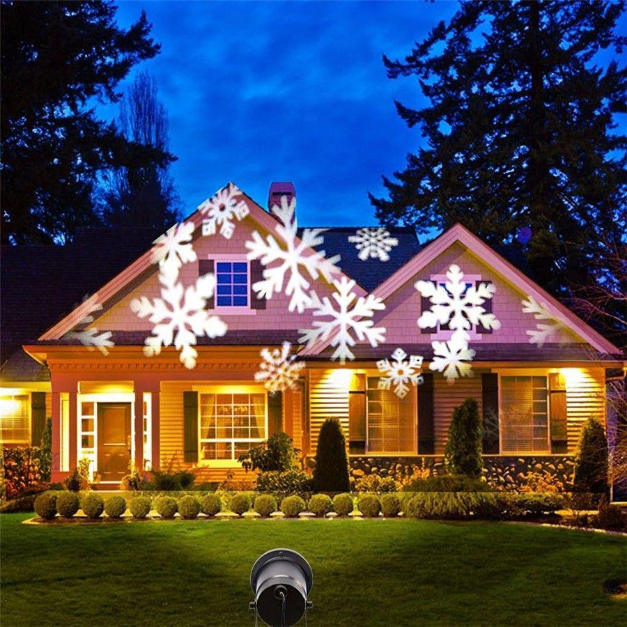Christmas Snowflake Laser Lights Snow LED Landscape Light Outdoor ...