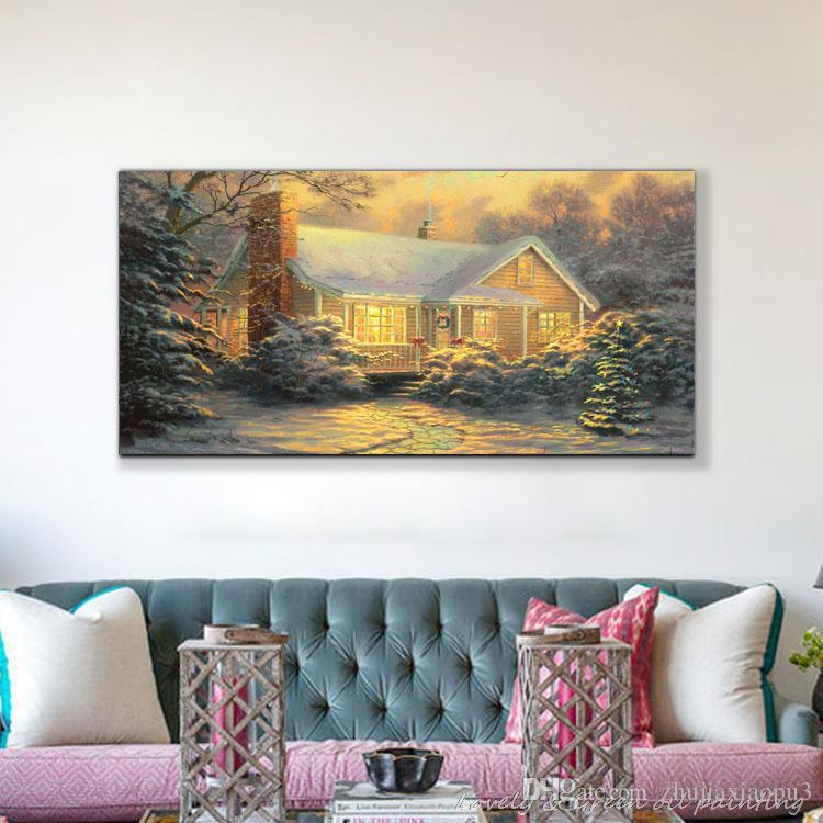 Oil on canvas wall art print famous painting works of masters Thomas landscapes snow hut