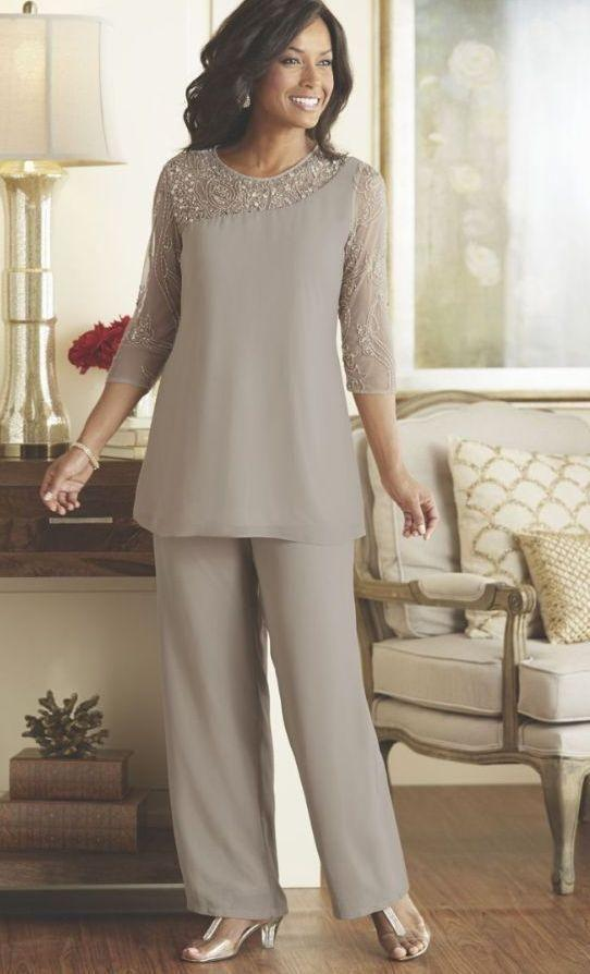 Beaded Sequins Gray Mother Bride Pant Suits Dresses 2016