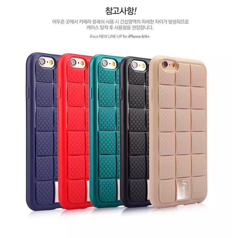 2016 Korean iFace Square Design Soft TPU Case Metal Back Cover Slicone Protector iPhone6 6s 6plus 5s SE Samsung S7 Edge G530 J1 mini J5