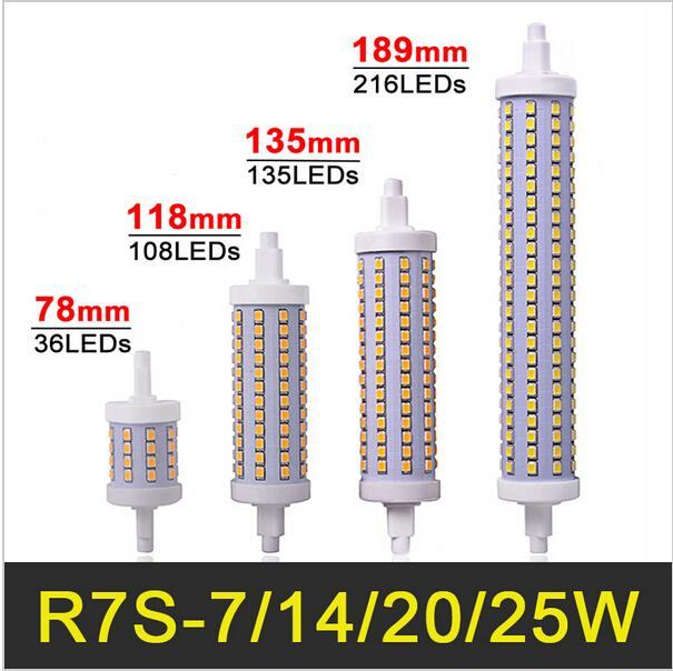 r7s led lamp 78mm 118mm 135mm 189mm 7w 14w 20w 25w led r7s bulb corn light dimmable smd2835 r7s. Black Bedroom Furniture Sets. Home Design Ideas
