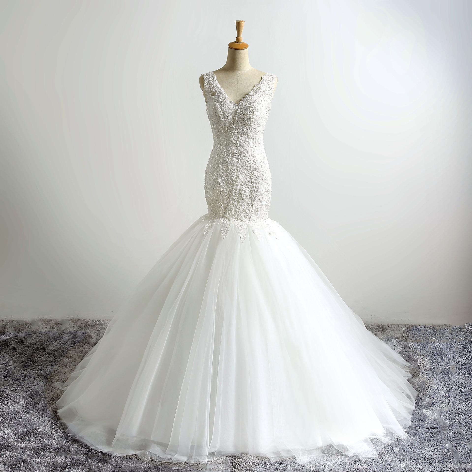 Crystal Beaded Mermaid Wedding Dresses Bridal Gowns 2016