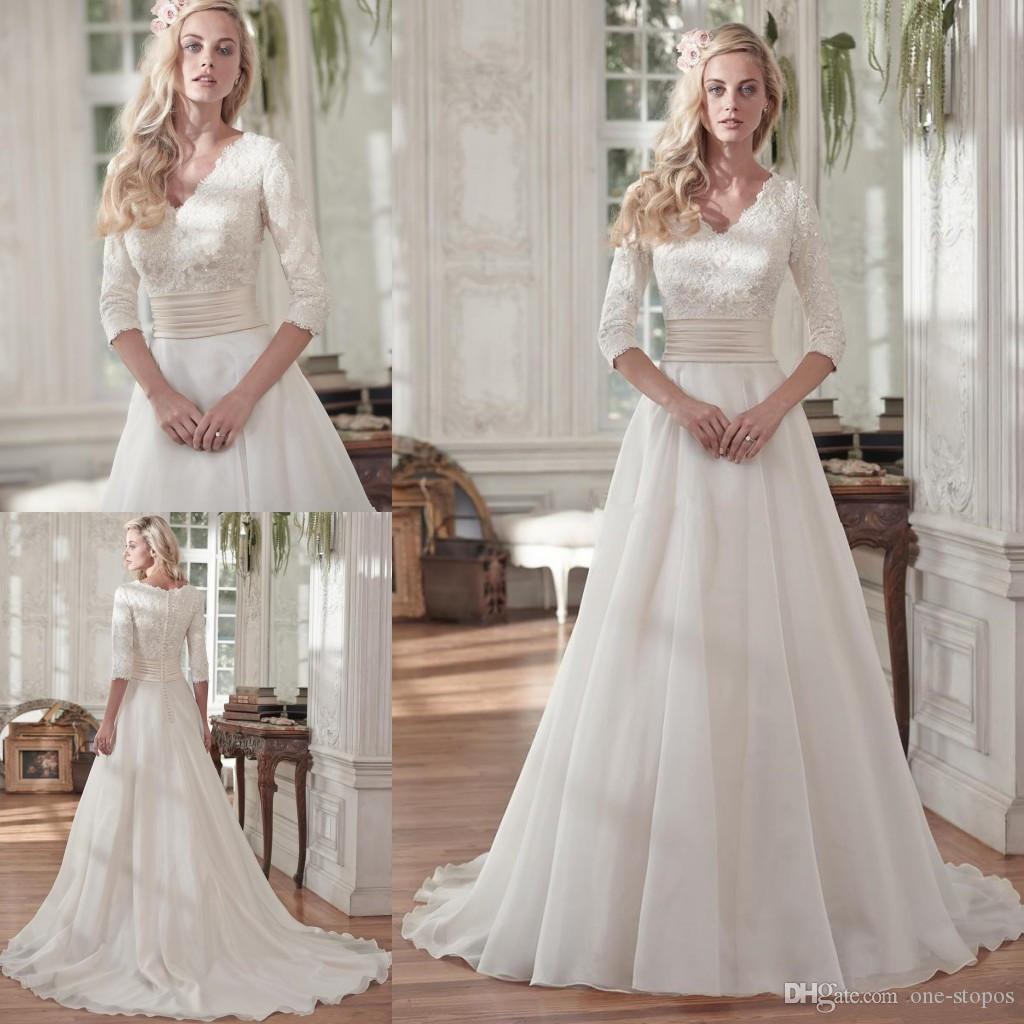 Vintage Wedding Dress Lace 3 4 Sleeves V Neck Modest