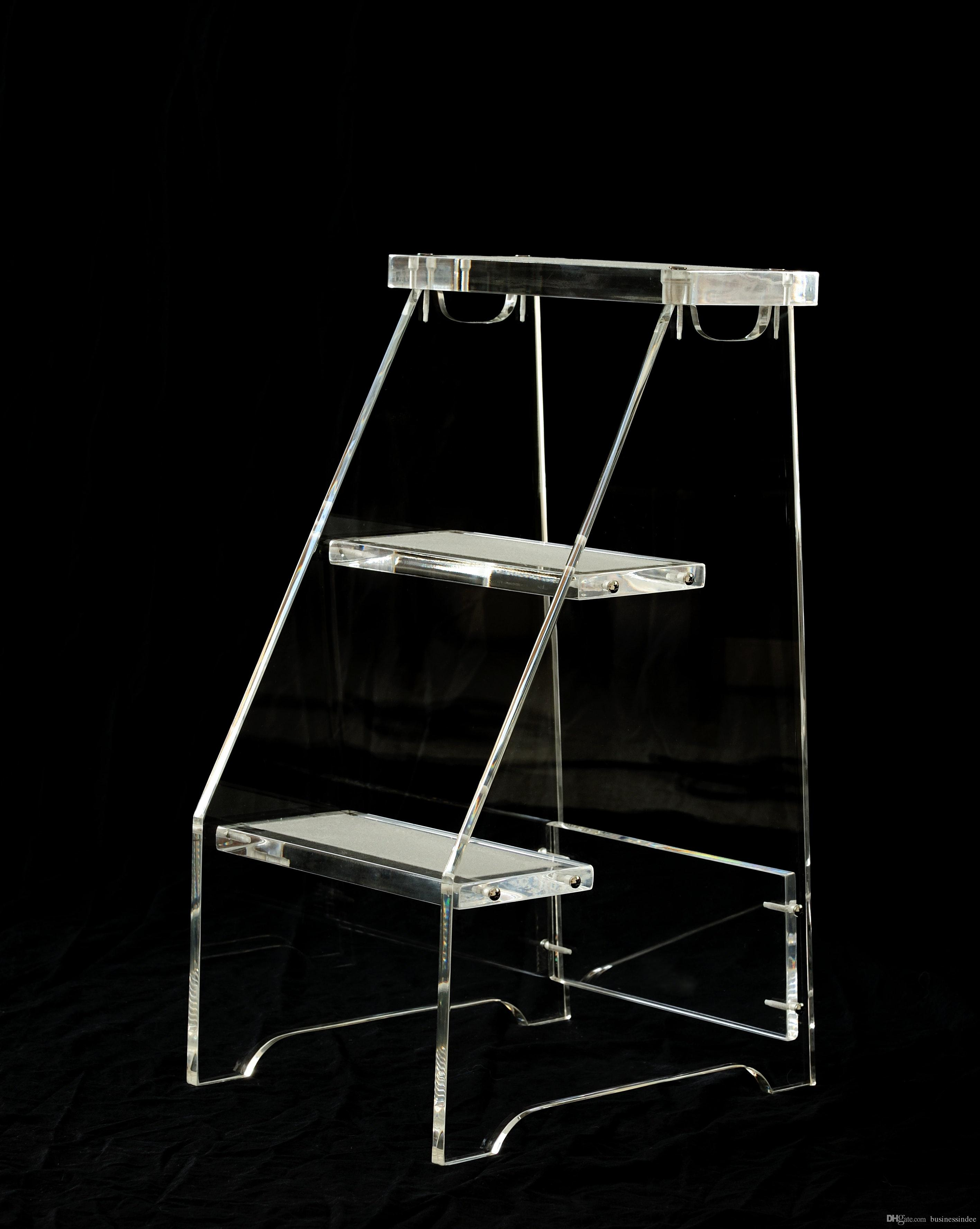 Clear Lucite 3 Level Step Ladder Stool Transparent Acrylic