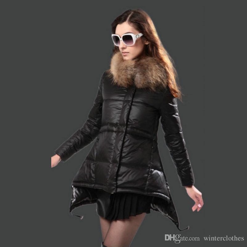 Ladies Jacket Puffer Duck Down Real Fur Trim Hood Feather Dress ...