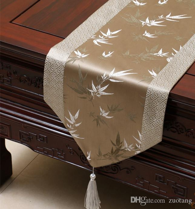 Elegant Bamboo Patchwork Table Runner Luxury Chinese Style Silk Brocade  Coffee Table Cloth High End Dining Table Protective Pads 200x33 Cm Wedding  Table ...