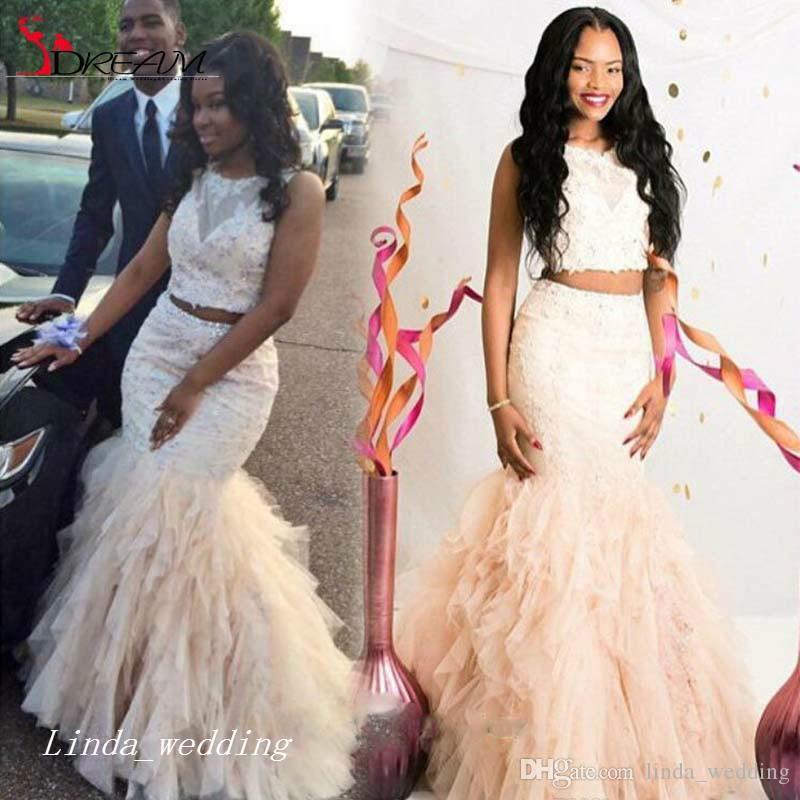 Beautiful Two Pieces Mermaid Prom Dress Cream Fuchsia Ruffle ...