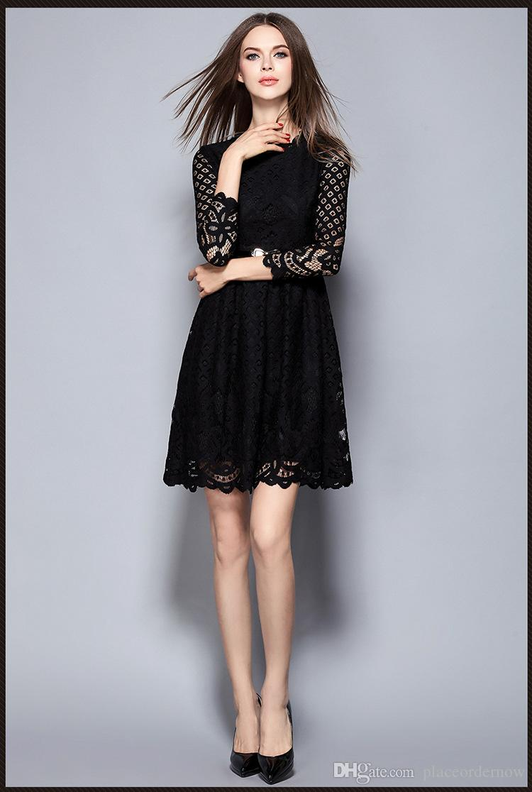 Sale Black Lace Stitching Hollow out Autumn Dress 2016 Fashion ...