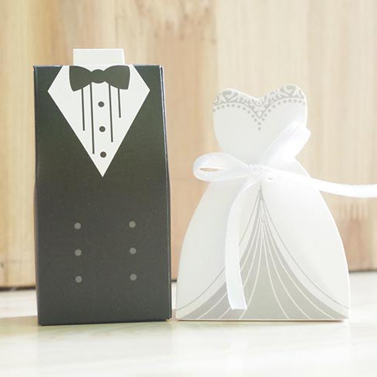 New bride and groom candy boxes wedding favors with satin for Wedding dress shipping box