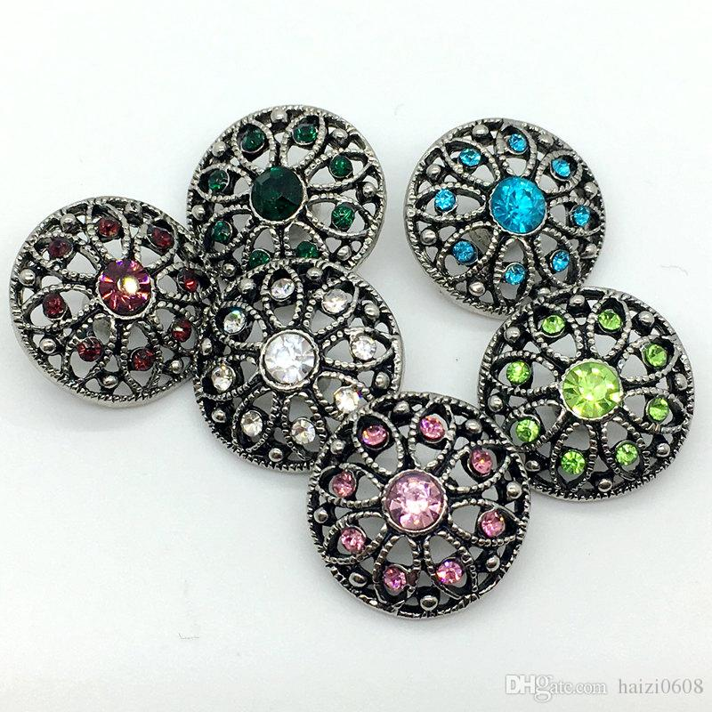 Noosa Snap bouton strass Bouton Charm Chunk 18mm interchangeables Flower creux B