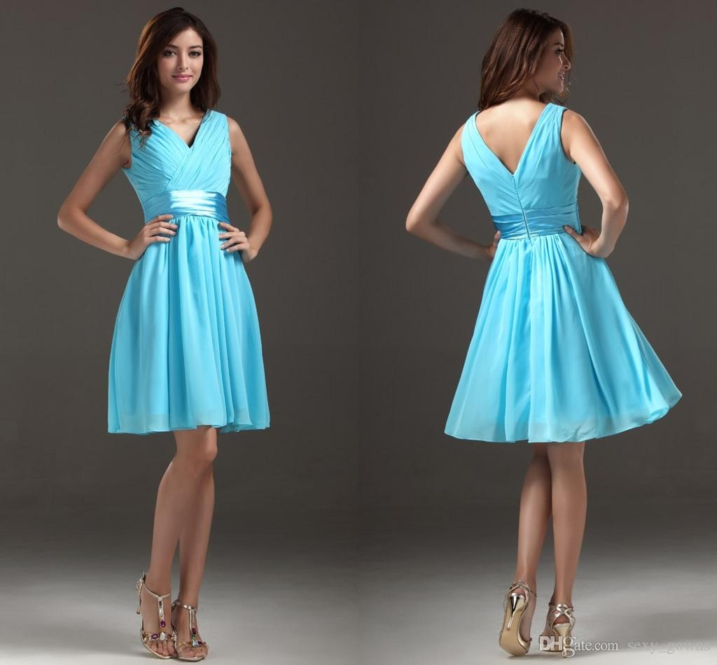 2015 New Summer Bridal Casual Blue Knee Length A Line