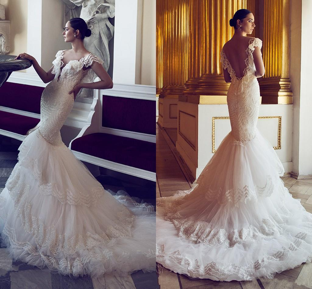 2016 New Lace Wedding Dresses Mermaid Ruffles Cap Sleeves
