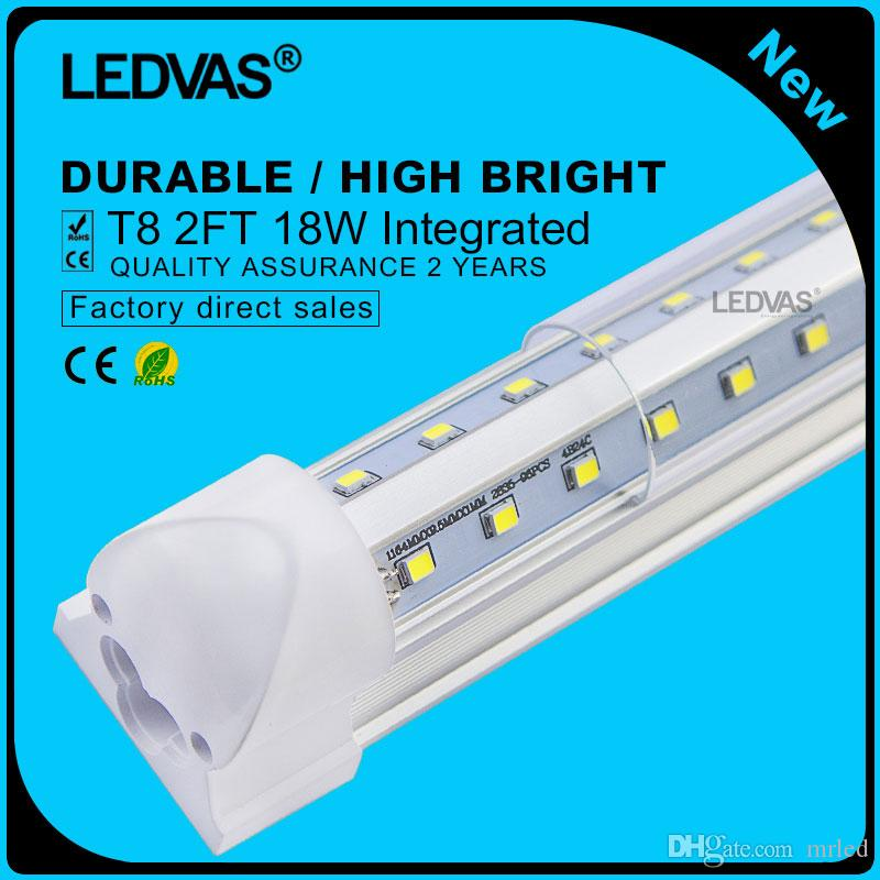 LEDVAS 2-Pack 18W V en forme de T8 LED Tube Lights 600mm Ampoule 2feet 0.6m 2Ft
