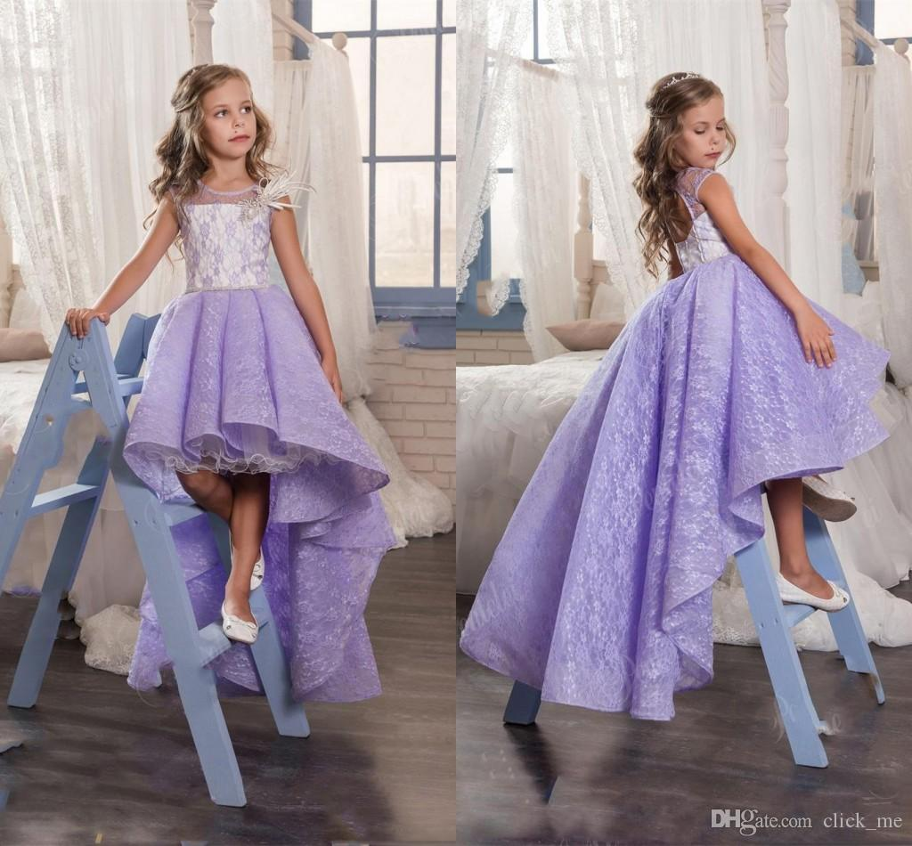 lavender lace high low flower girl dresses for wedding