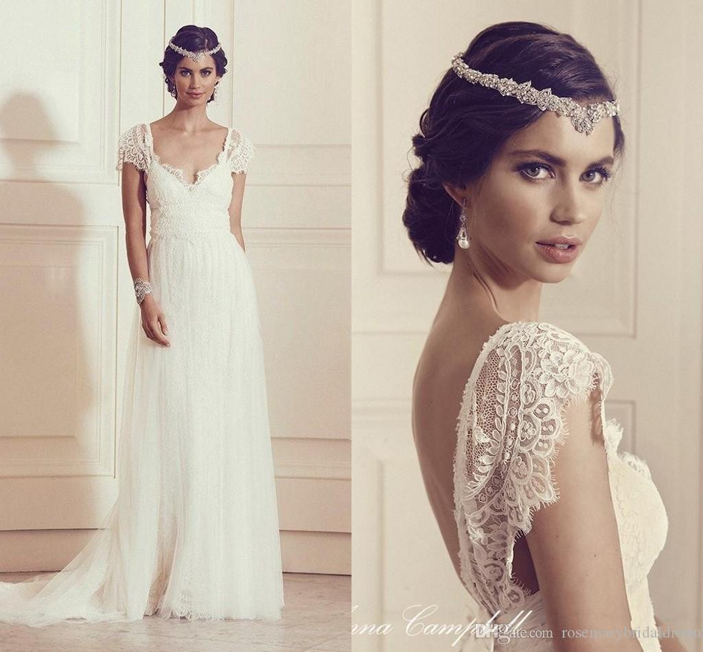 y V Back French Eyelash Lace Wedding Dresses 2016