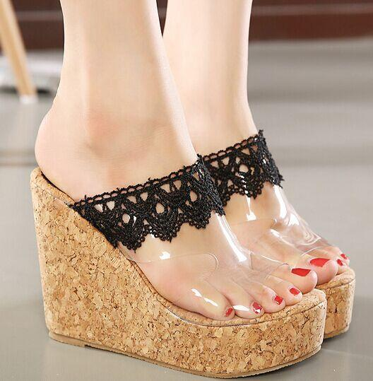 2016 Lace Sexy Wedge Shoes Bohemia Women Slippers Shoes Flip Flops ...