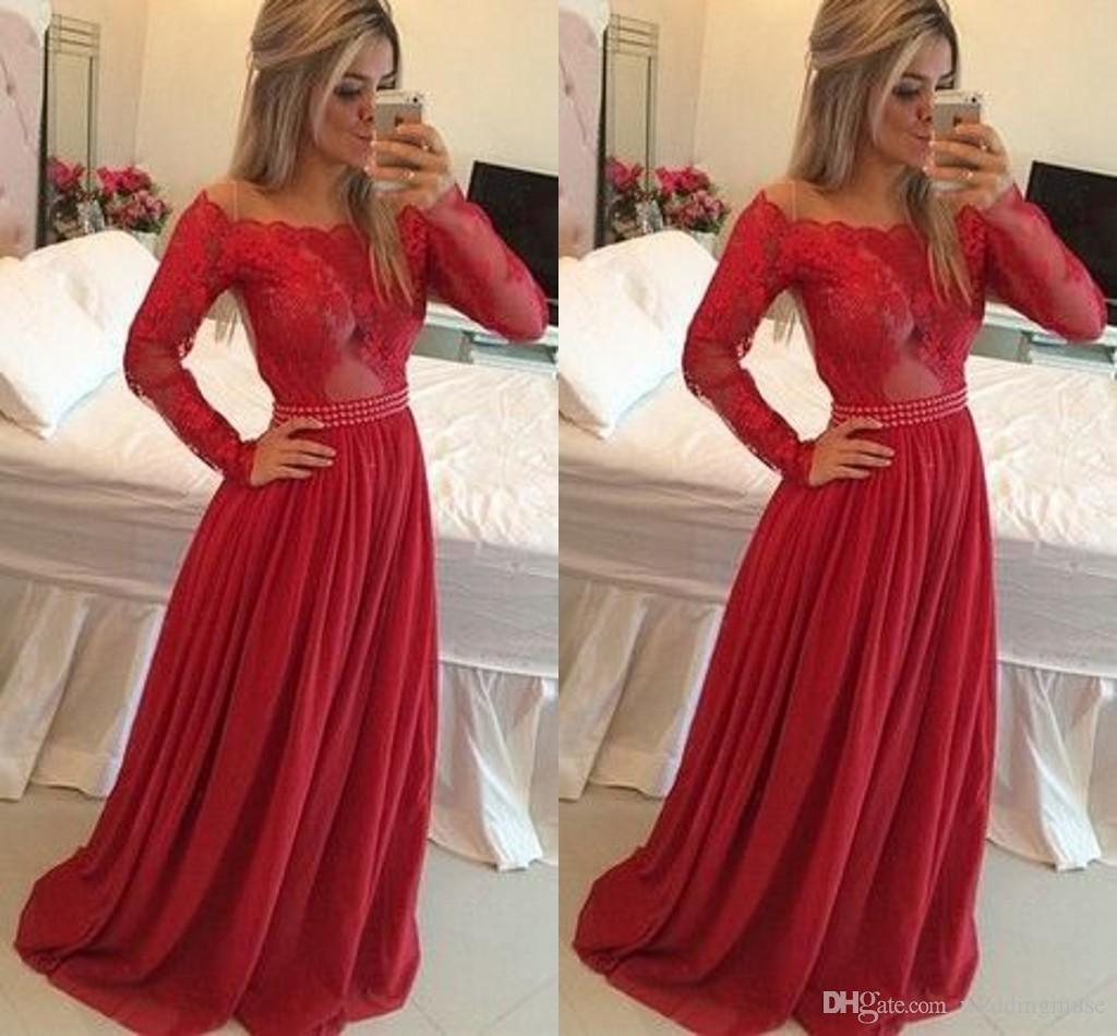 Red Prom Dresses Long Sleeve Off Shoulder A Line Appliques