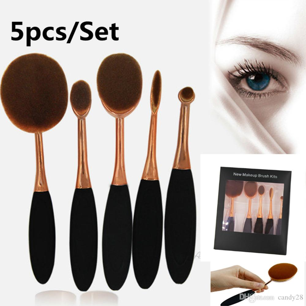 Professional 5pcs / Set Oval Brosse à dents en forme de brosse Makeup Brush Set
