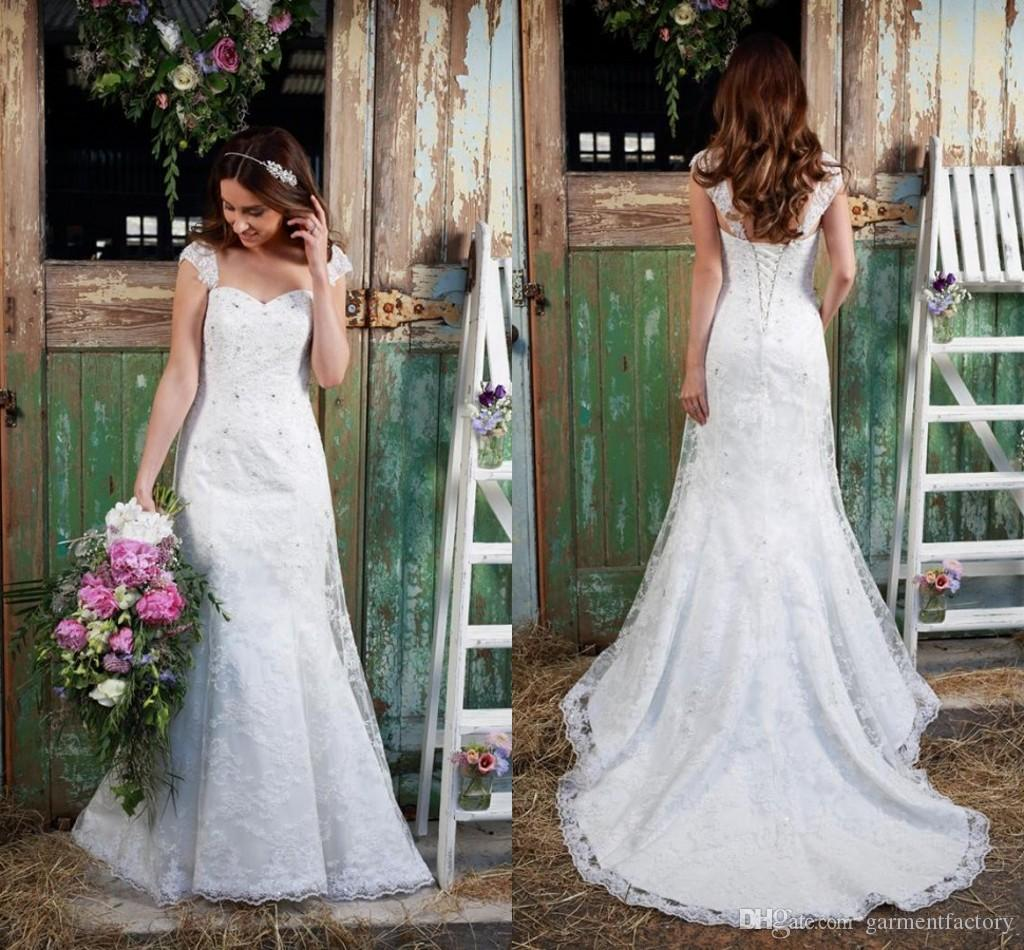 y Illusion Capped Sleeves Wedding Dresses Mermaid Style