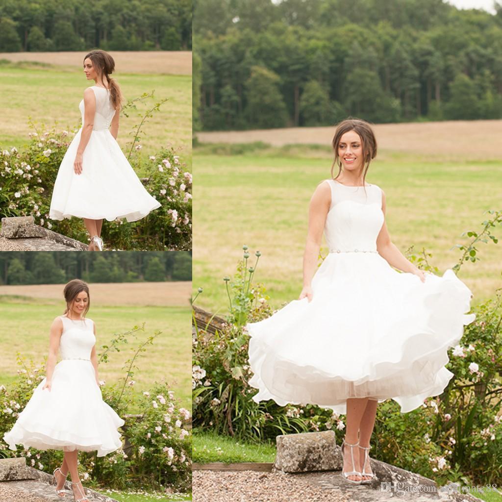 Beach Short Wedding Dresses Boho Bohemian Vintage A Line 2016 Modest Elegant Custom Made Chiffon