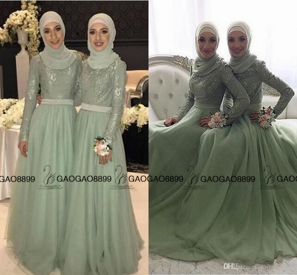 2017 Mint Sage Lace Tulle Long Sleeve Muslim Bridesmaid