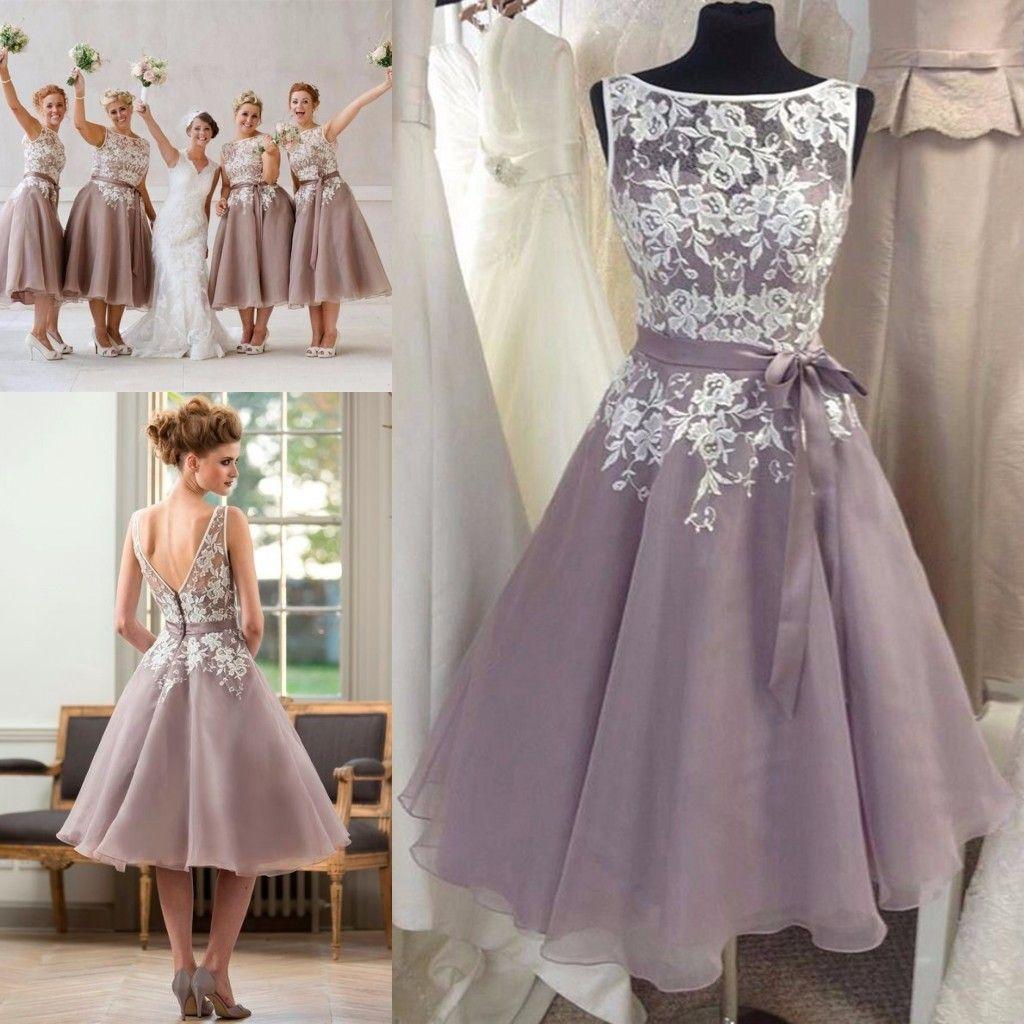 Dusty Purple Bridesmaid Dress With White Lace Tea Length V