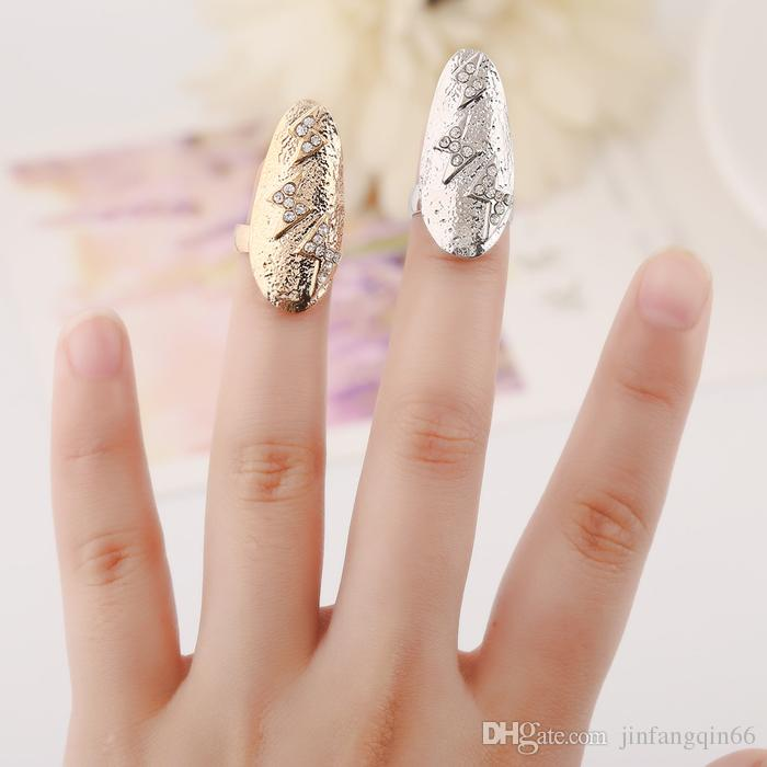 Fashion Rhinestone Cross Lightning Flower Crystal Fingernail Rings Punk Design Rings For Girl