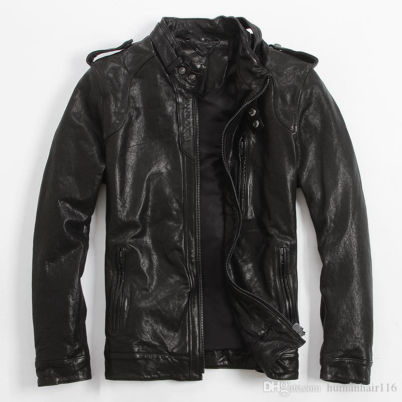 2017 New Mens Brown Leather Biker Jacket Stand Collar Genuine ...