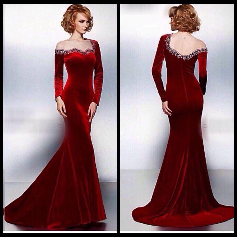 New Design 2017 Wine Red Long Sleeve Beaded Evening Dress
