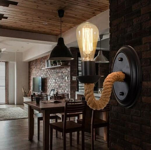 nordic american country loft style rope edison wall sconce vintage wall lamp antique industrial wall lights american country loft style