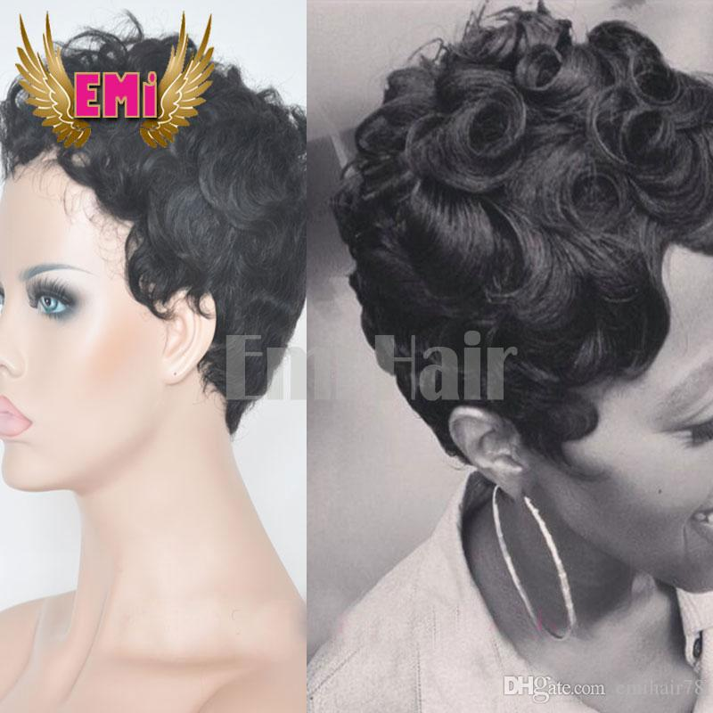 Human Hair Short Curly Wigs For Black Women Cheap Full