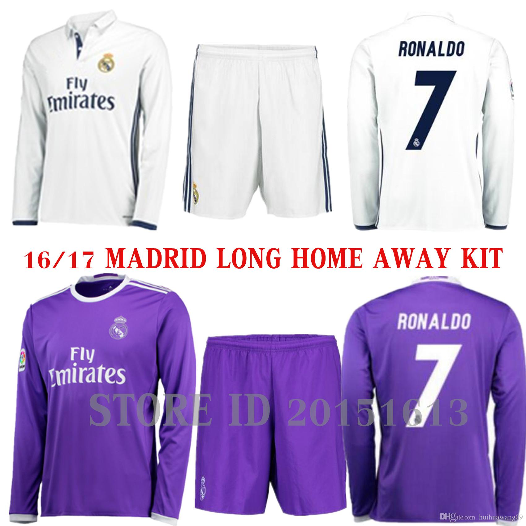 201617 long sleeve real madrid jersey kits soccer jerseys sets away james serigo ramos bale real