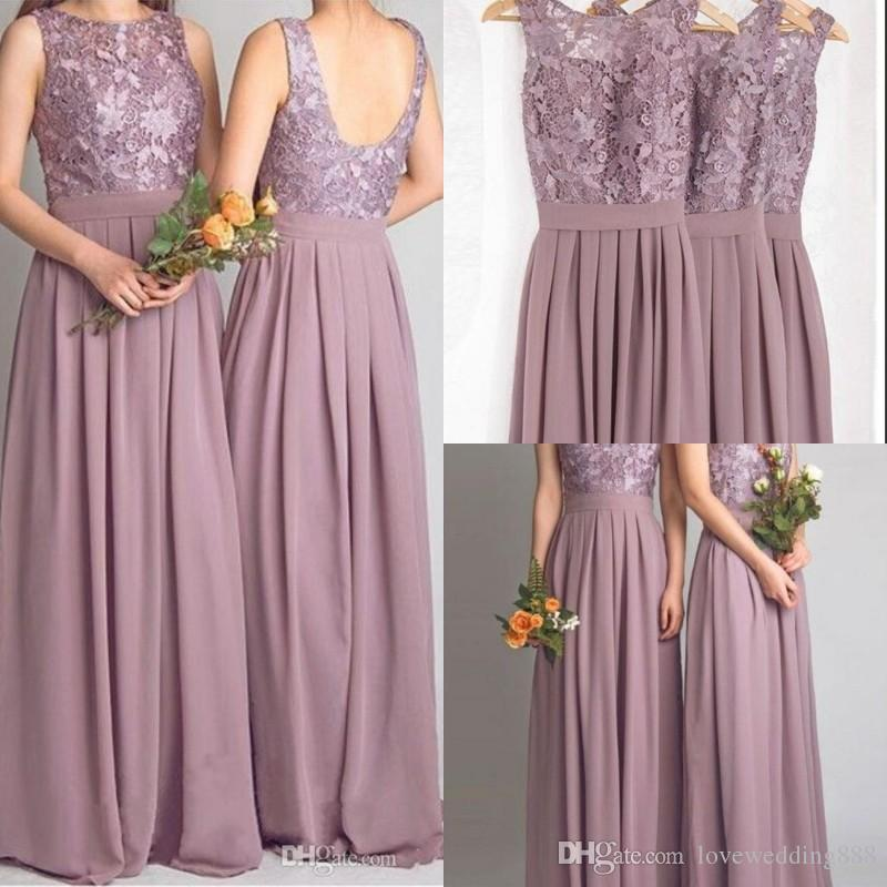 Dusty Mauve Bridesmaid Dresses For Weddings Real Photos Chiffon ...