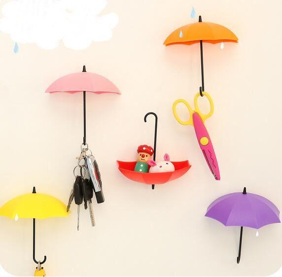 Decorative Key Holder For Wall colorful umbrella wall hook key hair pin holder organizer