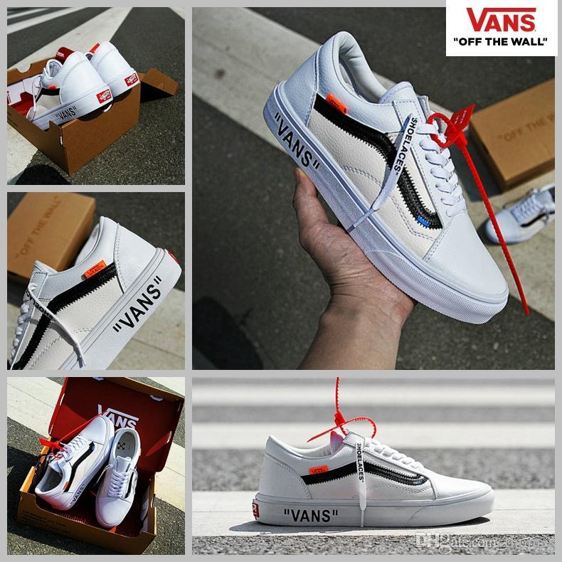 vans shoes white. 2017 off white x vans old skool running shoes women mens shoeslaces classic diy customs designer fashion casual canvas sneakers 35-44 vans