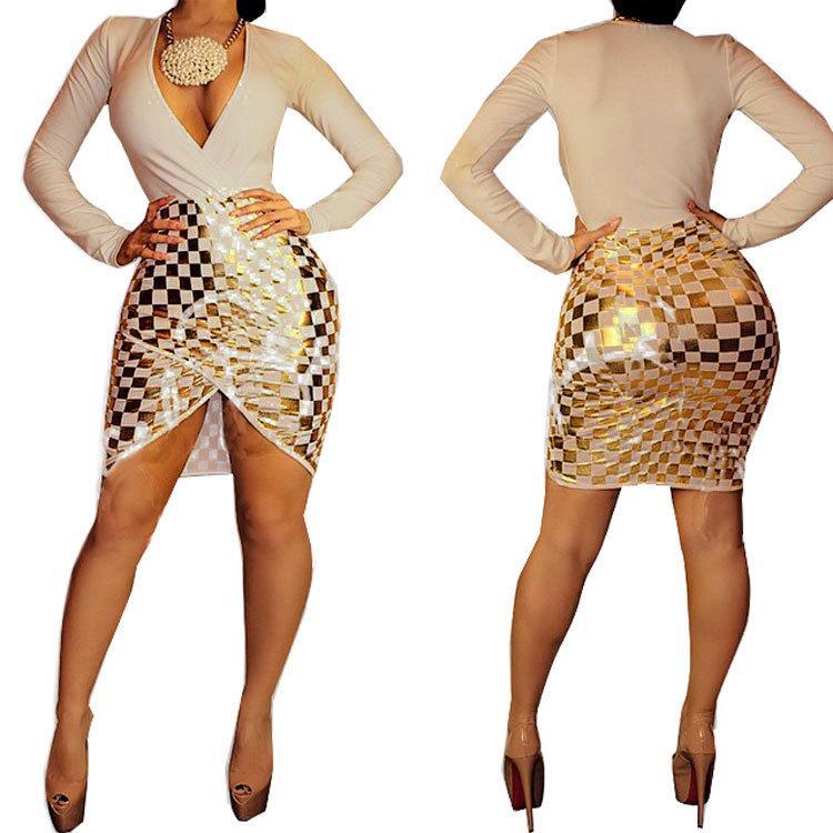 Deep v gold dress xl