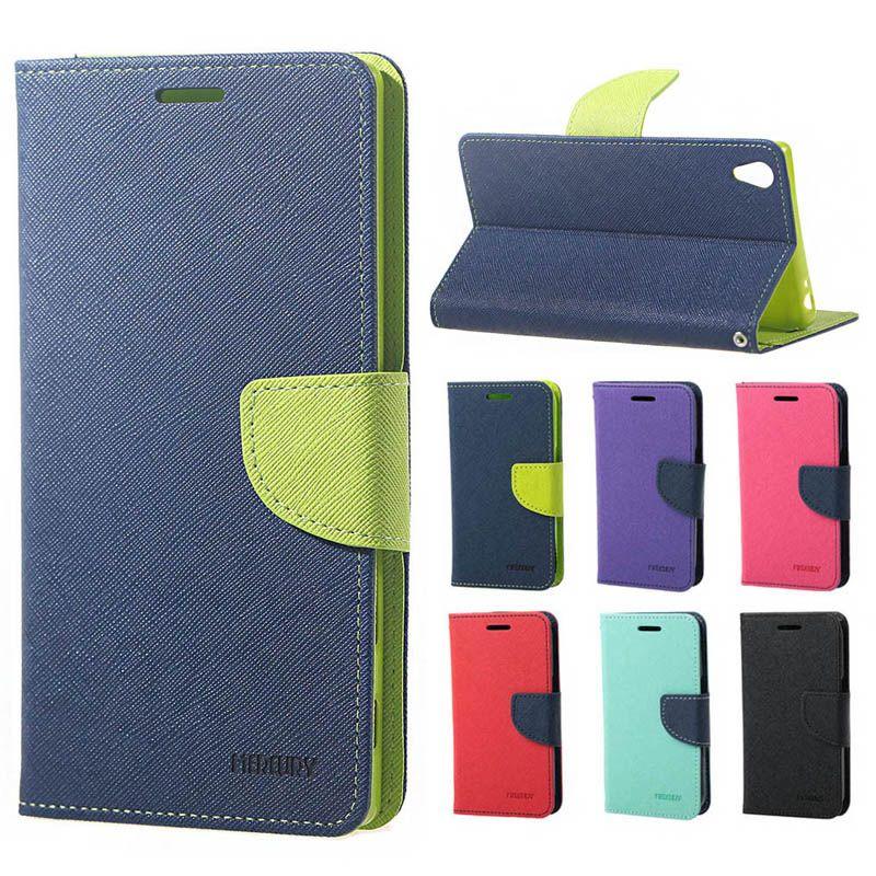 Mercury Wallet PU Flip Leather Case Card Slot TPU Cover SONY Xperia XA X Performance Ultra C6 M5 LG HTC Huawei P9 Lite OPPO R9 Samsung