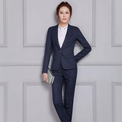 High-end Blue Office Business Women Suit Blazer Jacket And Pant ...
