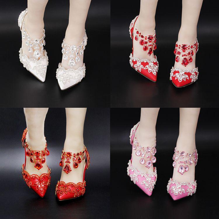 Wedding Shoes Bridal Colorful Rhinestone White Pointed ...